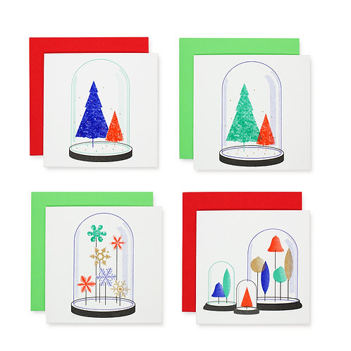 Christmas in a bell jar series, four designs (pack of eight)