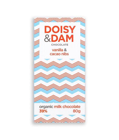 Doisy & Dam vanilla & cacao nibs milk chocolate bar (80g)