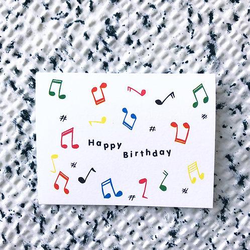 Happy birthday card (dancing notes)