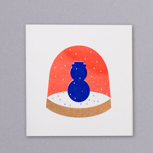 Snowman snow globe Christmas card