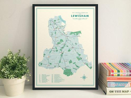 Lewisham retro map giclee print
