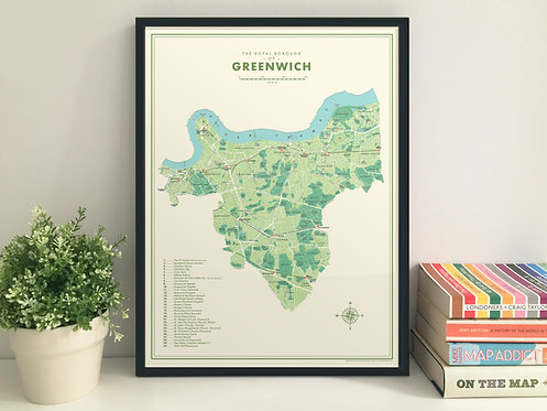 Greenwich borough retro map giclee print (A3)
