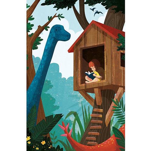 Dinosaur book A4 print