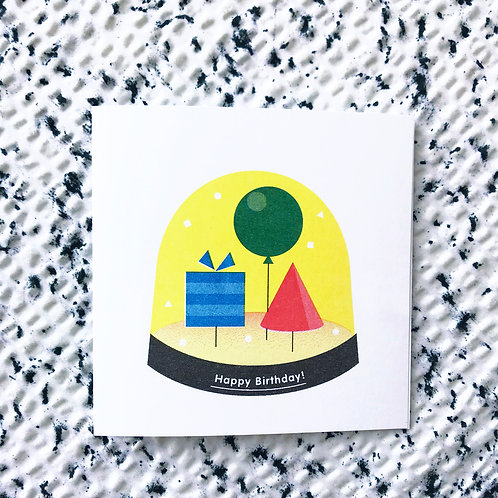 Happy birthday card (snowglobe shapes)