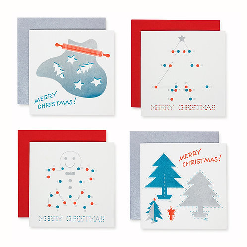Christmas in riso style cards (pack of eight)