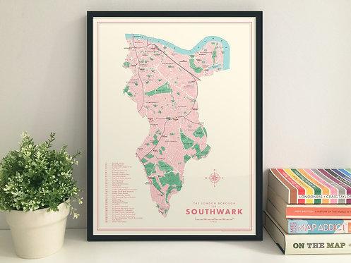 Southwark retro map giclee print
