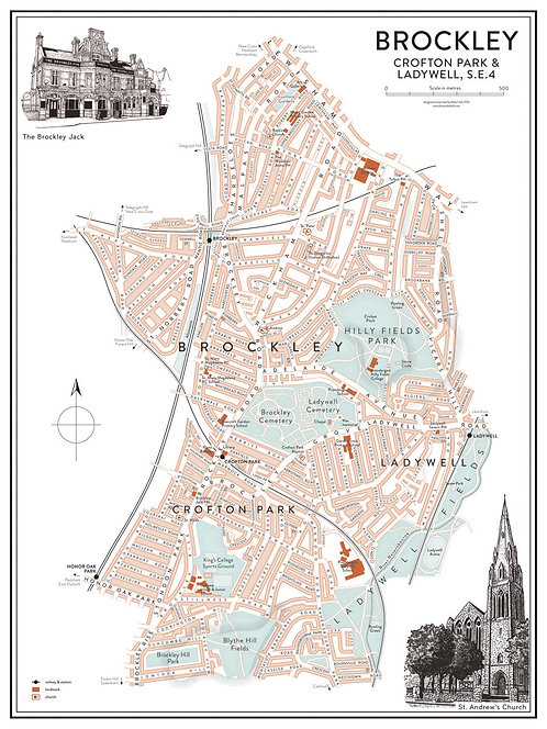 Brockley illustrated map