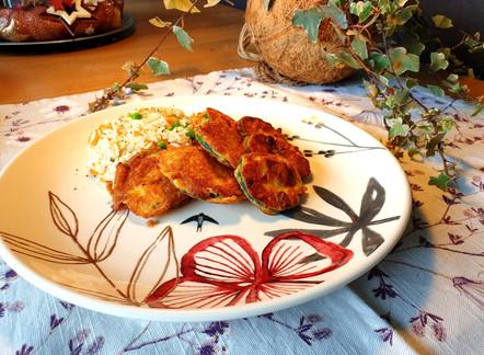 Zucchetti Piccata mit Gemüse-Reis