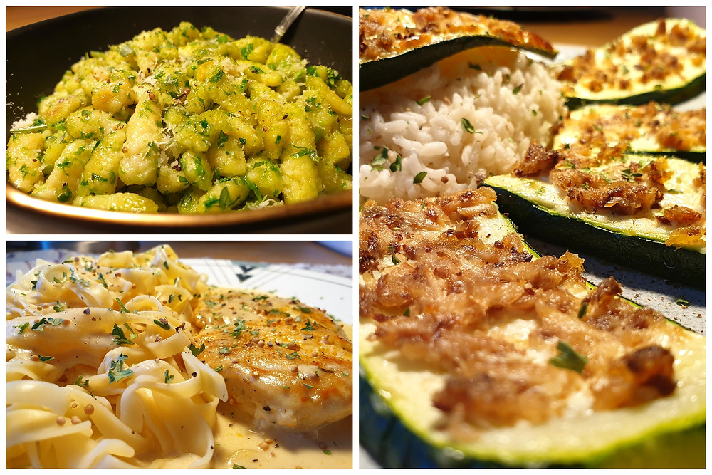 Spätzli mit Bärlauchpesto, überbackene Zucchetti-Scheiben mit Sardellen und Pouletschnitzel mit Senf-Rahmsauce.