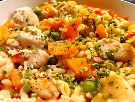 Ebly-Gemüse-Pfanne mit Poulet
