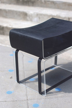 stool: perspex + rubber