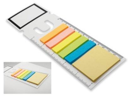 Marque-page avec fonction de la règle et post-it en couleur