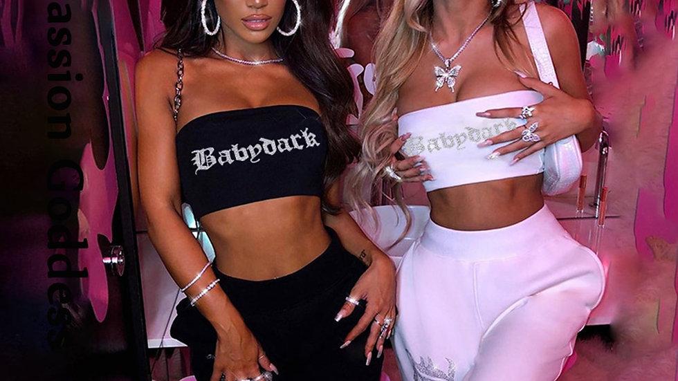 Sexy Women 2 Piece Rhinestone Party Sets Shiny Tracksuits