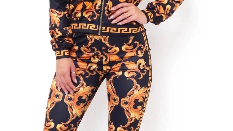 Two piece pant set- black