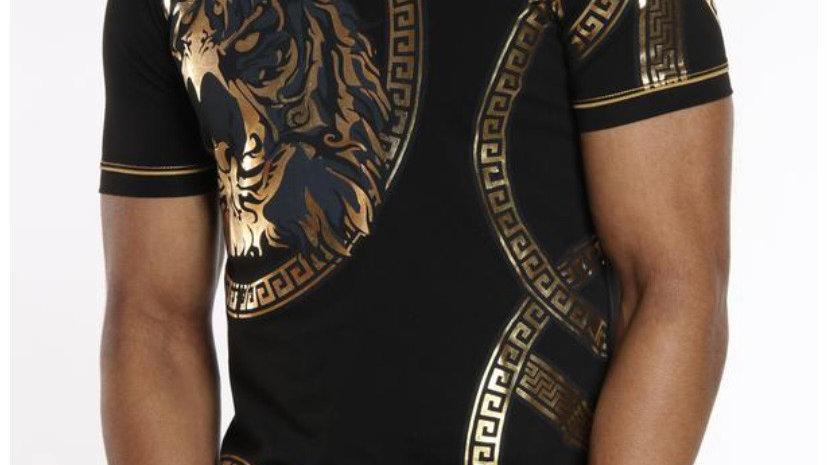 Tiger print shirt. Gold and black