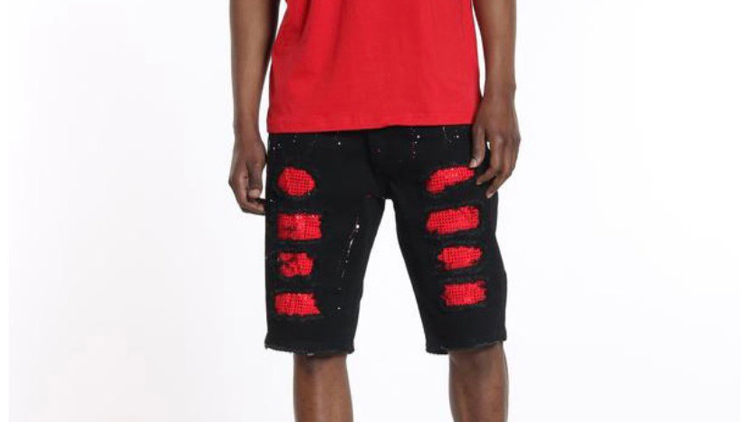 Black jean shorts with red rhinestones