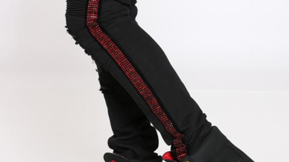 Black jeans with red stripe rhinestones