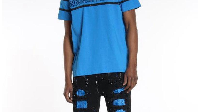 Black jean shorts with blue rhinestones