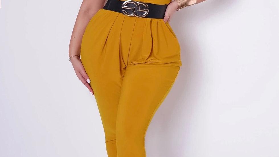 Plus size mustard jumpsuit