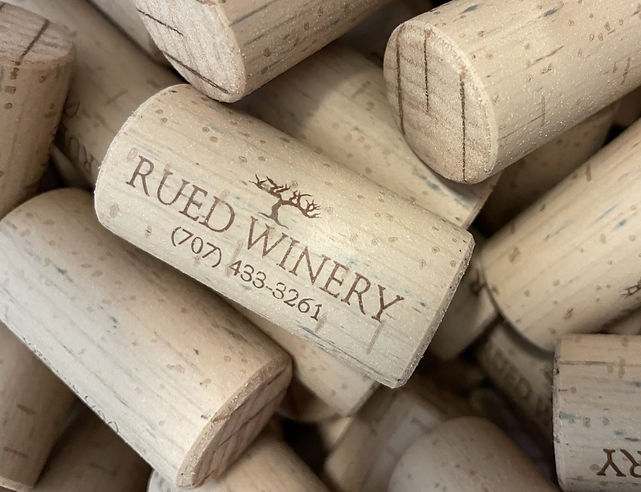 close up of Rued Winery corks