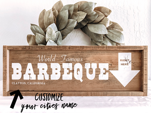 Reclaimed World Famous BBQ Sign - Personalized BBQ Sign - Barbecue Sign - Barbec