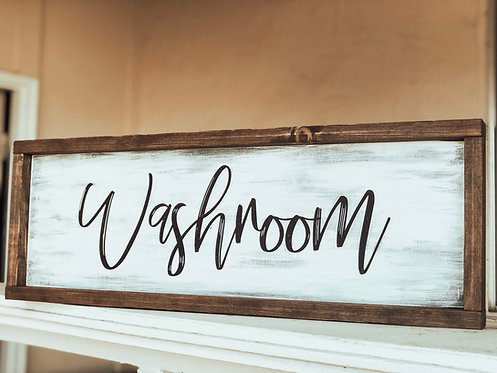 Washroom Sign - Bathroom Sign - Wood Bathroom Sign - Wood Washroom Sign