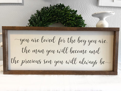 You Are Loved for the boy your are - Nursery Sign - Nursery Decor