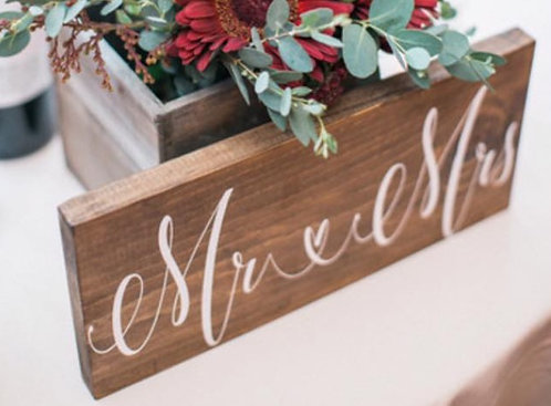Mr and Mrs Chair Sign - Mr and Mrs sign - Wedding Chair Decor - Rustic Wooden
