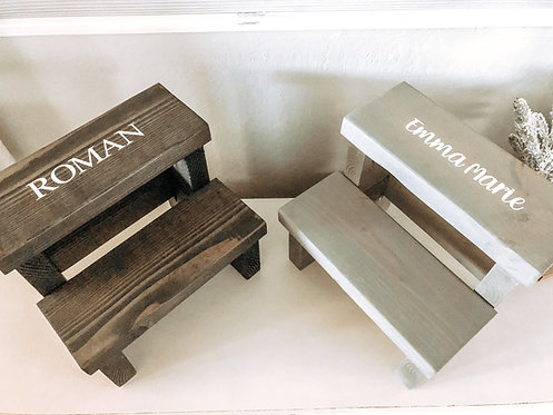 Wood Step Stool - Personalized Wood Step Stool - Kids Step Stool - Farmhouse