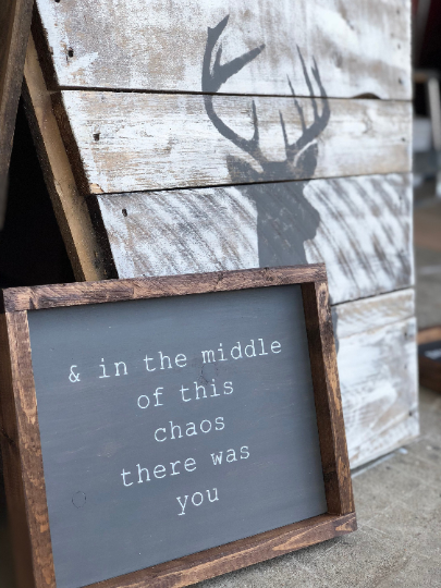 Inspirational Sign - & in the middle of this chaos there was you