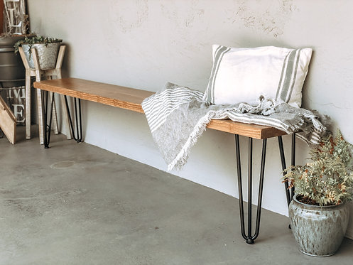 Solid Wood Bench With Hairpin Legs