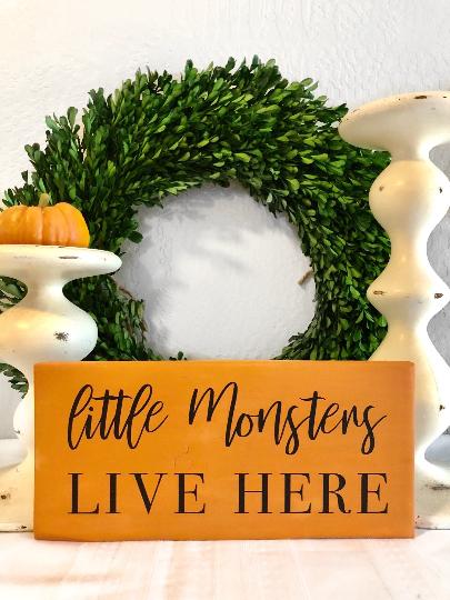 Little Monsters Live Here Sign - Halloween Decor - Halloween Sign - Home Decor -