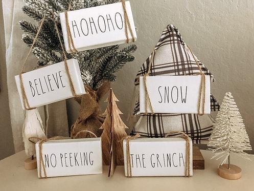 Mini Wood Christmas Ornaments - Rae Dunn Inspired - Farmhouse Wood Block
