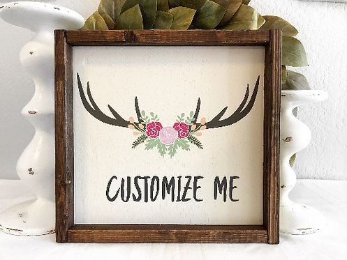 Antlers - Personalized Sign - Personalized Nursery Decor - Nursery Decor