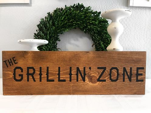 BBQ Sign - Grillin' Zone - Fathers Day Gift