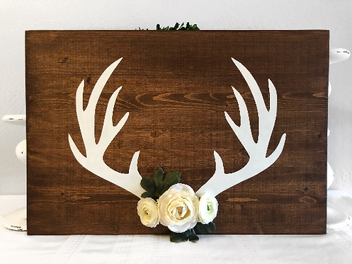 Antlers - Floral - Nursery Sign - Nursery Decor