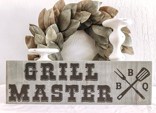 Grill Master Sign - BBQ Sign - Porch Sign - Grilling Sign - Fathers Day Gift - B