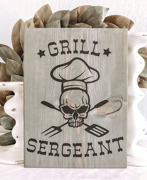Grill Sergeant Wood Sign - BBQ Sign - Grill Sign - Barbeque Sign - Barbecue Sign
