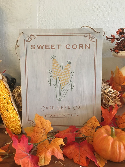 Sweet Corn Sign - Harvest Sign - Fall Sign - Seed Packet Sign - Corn - Home Deco