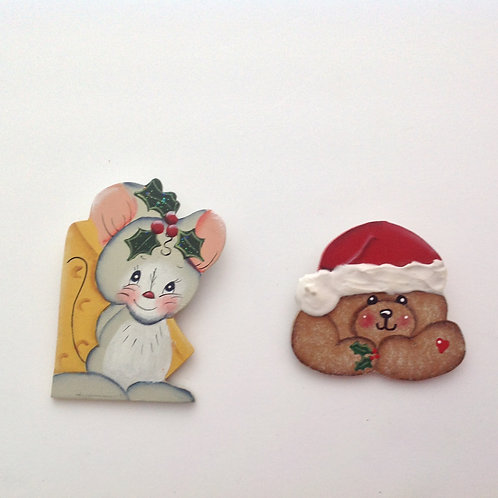 #77 Hand Painted Wooden Brooches