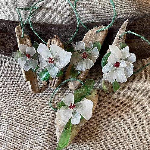 Sea Glass Flowers on Driftwood