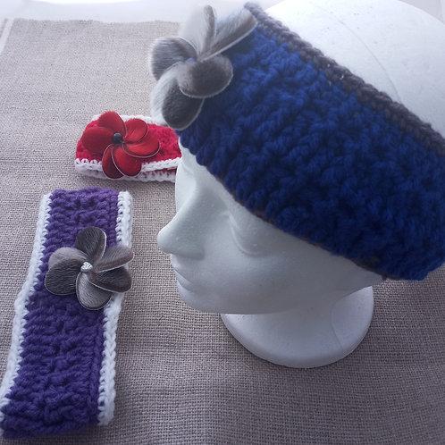 #10 Crocheted Headbands With Sealskin Flower
