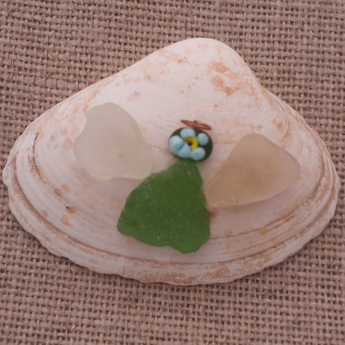 #01 Angel On Clam Shell With Lampwork Bead