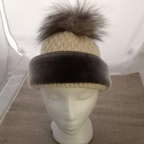 #10 Crocheted Hat With Sealskin + Fox Pom Pom