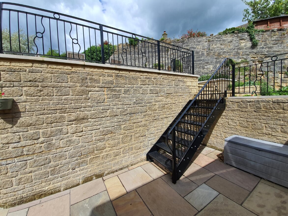 Garden stairs and railings