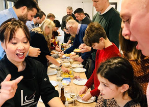 Surprise 40th - everyone made dim sum for lunch!