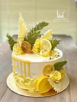 Zesty Lemon Drip Chocolate Leaf Cake