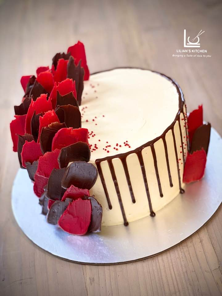 Red Chocolate Shard Drip Cake