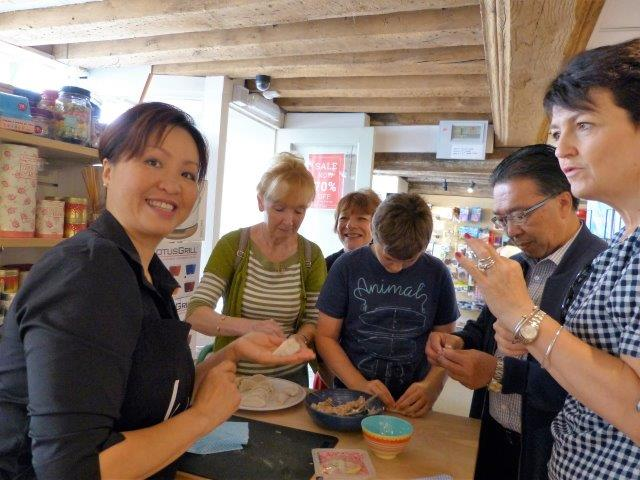 Local MP Jo Churchill mastered the pleating of the Dumpling very quickly!