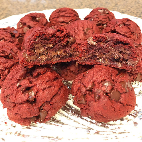 Red Velvet Dark or White Chocolate Chip Cookies
